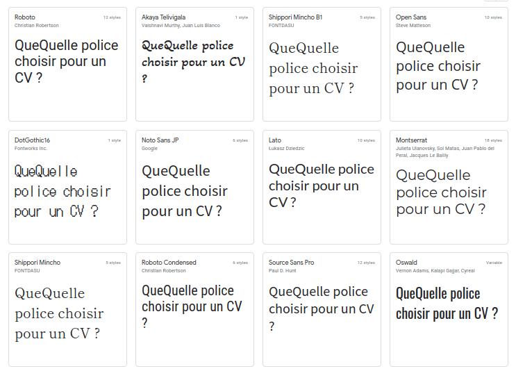 exemple de police d un cv